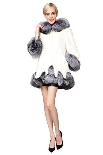 Yilianda giacca lungo giaccone pelliccia sintetica donna cappotto maniche lunghe bianco l