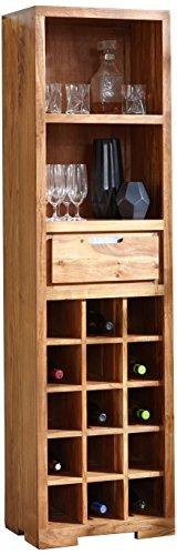 Wolf Möbel Vision Weinregal mit 1 Schublade / 15 Flaschen, Holz, Natur, 35 x 50 x 180 cm -