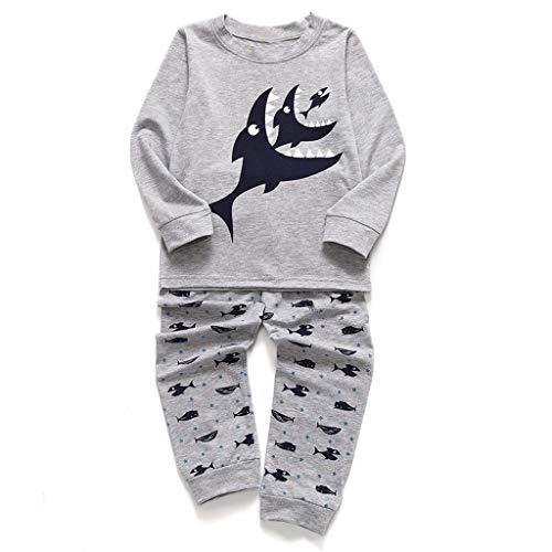 TTLOVE Junge Baumwolle Lange Ärmel T-Shirt Tops und Hosen Cartoon-Muster Shark Bekleidungsset Schlafanzug Set (Grau,(110 cm,2-3 Jahre))