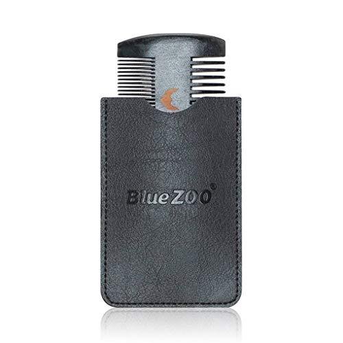 Ben-gi Schwarz Spray Painted Birnenholz Kamm Anti-Statik-Kopfmassage Pflege PU-Leder Tasche Beidseitiges Beard Comb