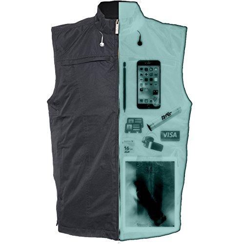 AyeGear 26 Taschen Reise Vest mit Dual iPad Taschen, Wetterfest, Leicht, Schwarz, XXLarge (Schwarz-check-fleece-jacke)