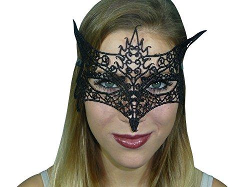 HO-Ersoka Damen Augenmaske Spitze Stickerei foxy Lady Maskenball Venezia schwarz (Vamp Halloween Lady)