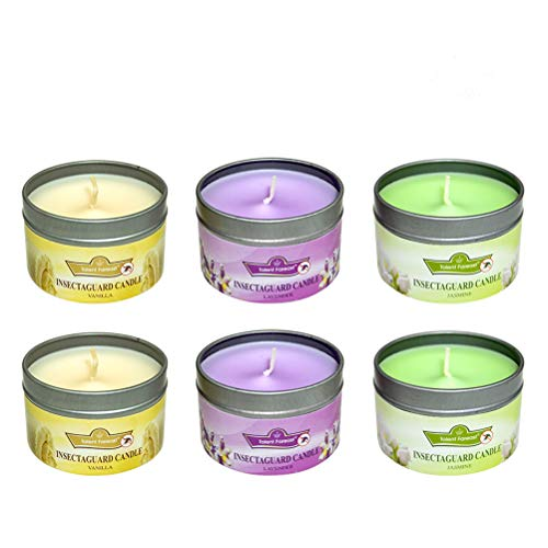 SOFTEEN candela profumata alla citronella (Jasmine, Lavender, Vanilla) Antizanzare Confezione di 6, Citronella candele Repellente per insetti zanzare, 100% cera di soia Stagno di viaggio
