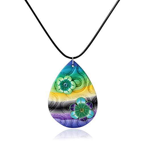 YANOAID Wassertropfen Geformt Mit Kristall Schwarz Seil Einstellbarer Größe Damenmode Weichen Ton Anhänger Halskette