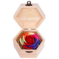 Janly  Hexagon Wooden Box Soap Flower Simulation Colorful Rose Small Wooden Box Valentine