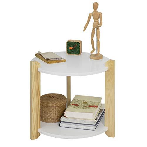 SoBuy® FBT63-WN Table d'Appoint Table Café Table Basse Ronde Guéridon – 2 Plateaux 3 Pieds