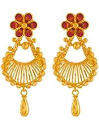 P.C. Chandra Jewellers 22k (916) Yellow Gold Drop Earrings for Women