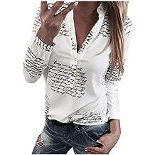 8ff67422b Blusas Mujer Primavera 2019 Fossen Botones De Mujer con Cuello En V BotóN  De ImpresióN Camiseta