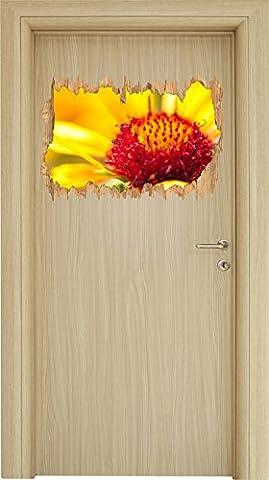 Blüte Nahaufnahme Holzdurchbruch im 3D-Look , Wand- oder Türaufkleber Format: 62x42cm, Wandsticker, Wandtattoo, Wanddekoration