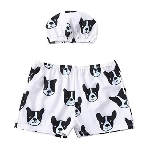 Kleinkind Baby Kinder Outfit/Kinder Jungen Hund Drucken Bademode Badeanzug Strand Hosen Hut Outfit Lässig Outfit Set(Schwarz,5-6 Jahre) -