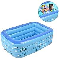 Piscine Gonflable familiale Bleue rectangulaire Family Pool pour Petits Enfants. (120x90x35cm)