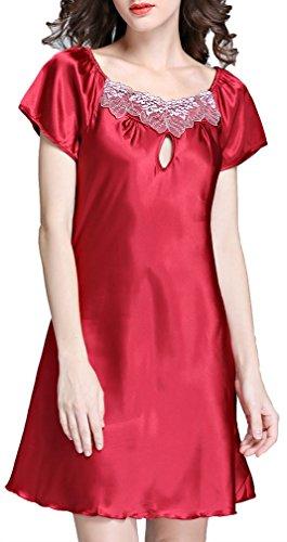 FLYCHEN Damen Nachthemd aus Satin Kurzarm Spitze Negligee Babydoll Sleepshirt Nachtwäsche Gr. S-2XL Weinrot EUR M(Asien XL) (Spitzen-satin-sleepshirt)