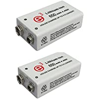 2 pcs 9 V 650 mAh Li-Ion recargable Batería 9 V ...