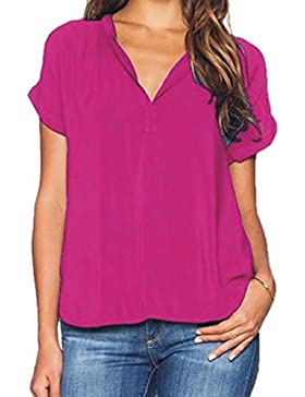 Juleya Mujer Blusas Verano Gasa Camisa Manga Corta Top Espalda Larga Frente Corto Blusa de Cuello V Color LISO...