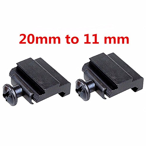 ILS - 2 pieces 20mm to 11mm Adapter Base Coverter Mount For Weaver Dovetail Rail