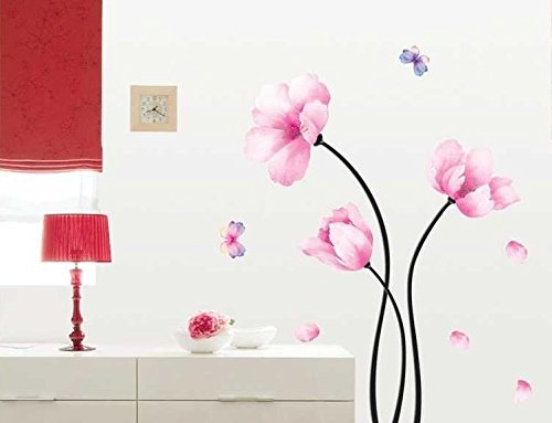 UberLyfe Pink Flower Wall Sticker Size 3 (Wall Covering Area: 102cm x 97cm) - WS-000123