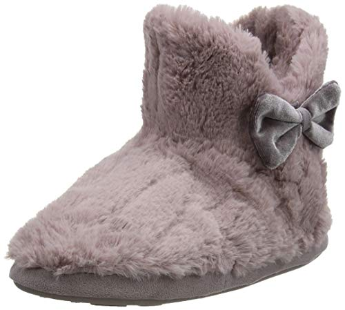 Totes Ladies Textured Fur Boot Slippers, Chaussons Montants Femme