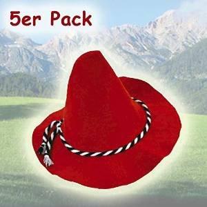 Schwarz, Weiß, Rot, Hut (Seppelhut Rot mit Kordel schwarz/weiß, 5er Pack)