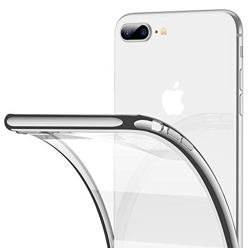 RANVOO Kompatibel mit iPhone 8 Plus / 7 Plus Hülle, Silikon TPU Soft Dünn Transparent Weich Flexibel Slim Durchsichtig Rücken Case Schutzhülle Cover Handyhülle (5,5 Zoll), Silber -