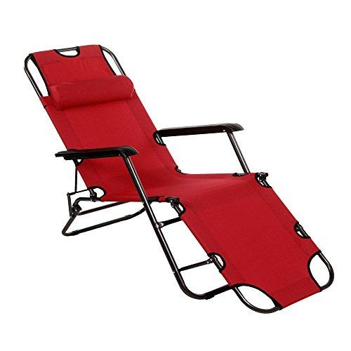 Begorey nuova pieghevole sedia reclinabile di esterno in nylon con cuscino–utilizzabile nel giardino, la spiaggia o la piscina