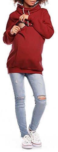 Happy Mama. Damen Sweatshirt Stillzeit Reißverschluss Stillen Rollkragen. 354p Purpur