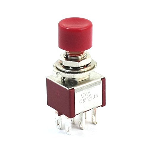 DealMux AC250V 2A 120V 5A 6Pin Terminals DPDT Momentary Push Button Switch, Rot -