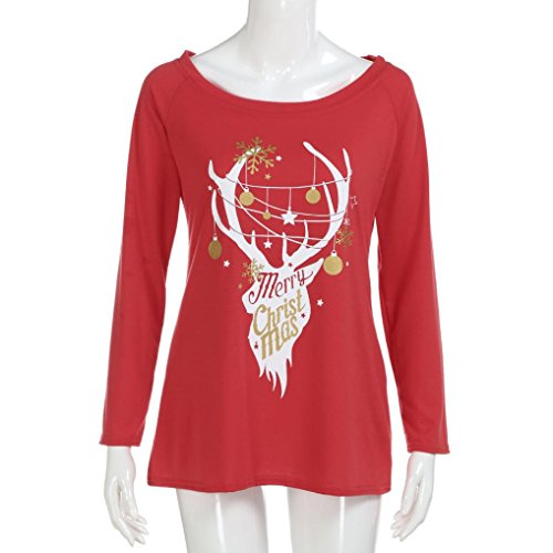 Fulltime®Womens festive Christmas Rennes chemisiers t-shirt Xmas Long Sleeve Tops Rouge