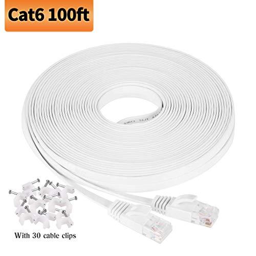 Viodo Ethernet-Kabel, kompatibel mit Cat 6, flach, LAN-Patchkabel, solides Cat6 High-Speed-Computerkabel mit Clips und Rj45 - mehr Füße und Farben zur Auswahl, White CAT6, 100 Feet/30M