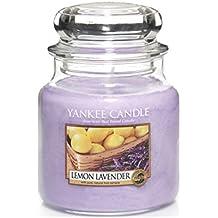 Yankee candle 1073482E Lemon Lavender Candele in giara media, Vetro, Porpora, 10.1x9.8x13.2 cm