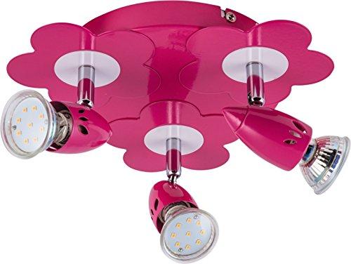 Heitronic LED Deckenleuchte Flower, 3 flammig, maximal 35 W, 4 x GU10/3W Leuchtmittel inclusive, Strahler, metall pink und weiß lackiert HEI-27748