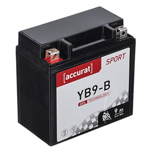 Accurat Motorradbatterie YB9-B 9Ah 90A 12V Gel Technologie Starterbatterie in Erstausrüsterqualität zyklenfest sicher lagerfähig wartungsfrei