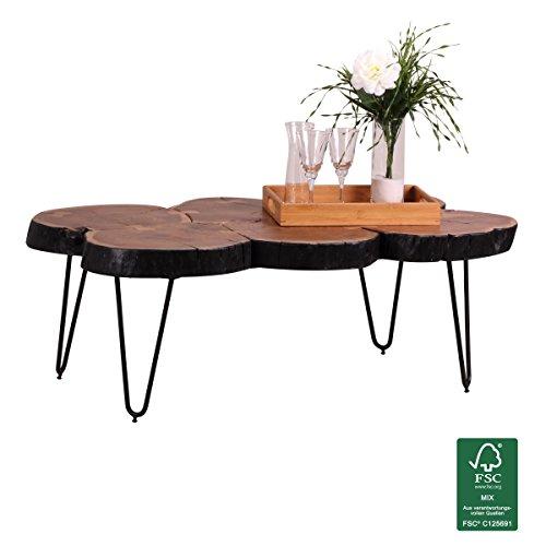 WOHNLING Couchtisch Massiv-Holz Akazie 115 cm breit Wohnzimmer-Tisch Design Metallbeine Landhaus-Stil Beistelltisch Natur-Produkt Wohnzimmermöbel Unikat modern Massivholzmöbel Echtholz Baumstamm