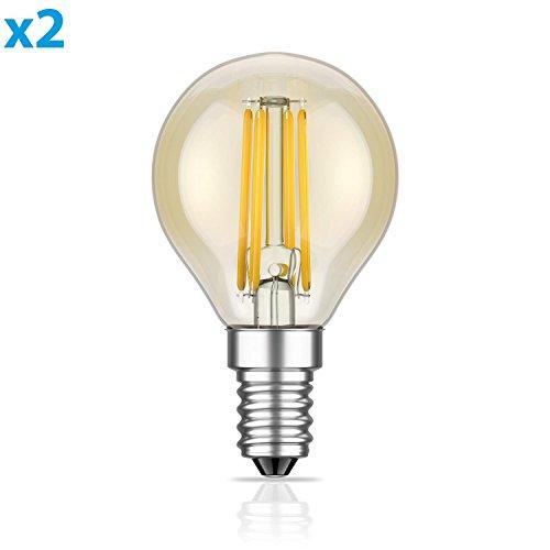 Warm Amber Glas (ledscom.de E14 LED Leuchtmittel Glühfaden G45 Vintage amber 4W =34W 380lm extra-warm-weiß auch wetterfest, 2 Stk.)