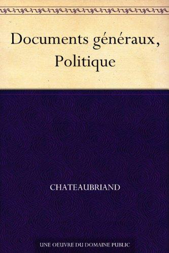 Couverture du livre Documents généraux, Politique