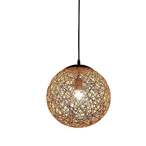 Txdz lampadario in stile europeo con spago, sala da pranzo creativa soggiorno camera da letto bar lampada a sospensione rotonda hot pot shop negozio di tè lampada da soffitto a sfera in lino, colore l