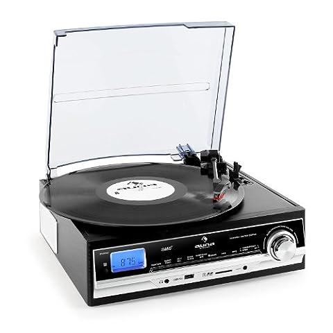 Auna TT-18SB Schallplattenspieler Plattenspieler mit USB-SD-Slot zum digitalisieren (UKW/MW-Radio, MP3-Aufnahme von Radio oder Schallplatte, AUX-IN, UKW/MW-Radio, Fernbedienung)