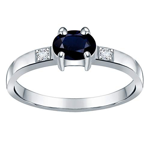 Orchid Jewelry Unisex Damen - Sterling-Silber 925 Sterling-Silber 925 Oval Rund White Blue - Sterling Größe Aus Silber 3-ring