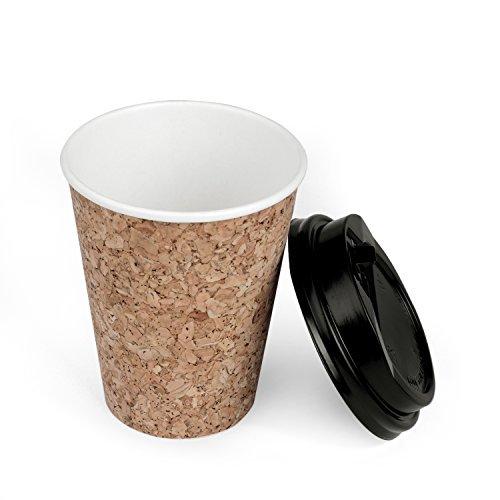 Set de 25 Gobelets 240ml a Emporter Jetables et Recyclables en Papier et Lieges avec Couvercle Noir - Ideal pour Servir du Café, Thé et autres Boissons Chaudes et Froides