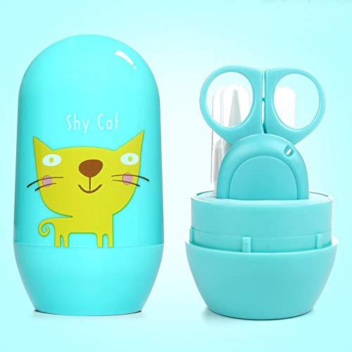 Baby Maniküre Set, Isuper 4- Teiliges Baby Nagel und Nase Pflege Set mit Nagelknipser, Schere, Feile und Pinzette für Neugeborene, Säuglinge und Kleinkinder (Blau)