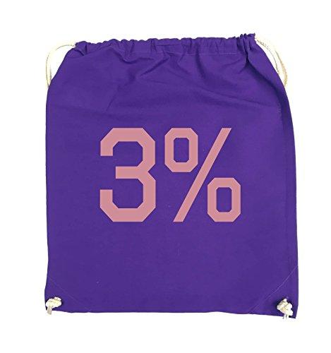 Borse Comiche - 3% - Logo - Turnbeutel - 37x46cm - Colore: Nero / Argento Viola / Rosa
