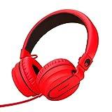 RockPapa 952 On Ear Faltbare Kopfhörer Headphone Verstellbare mit Mikrofon für Kinder/Erwachsene, iPod iPad iPhone Tablet Computer SmartPhone Schwarz Rot