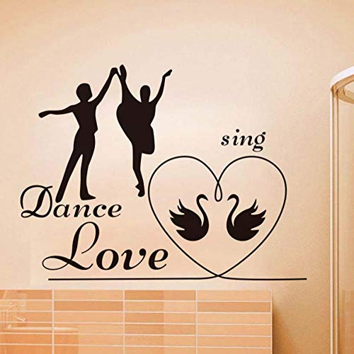 Wohnzimmer wandaufkleber liebe tanz singen liebe schlafzimmer wandaufkleber romantische dekoration schwan muster kinder wandtattoo poster 77X58 CM