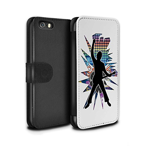 Stuff4 Coque/Etui/Housse Cuir PU Case/Cover pour Apple iPhone SE / Hendrix Noir Design / Rock Star Pose Collection Windmill Blanc
