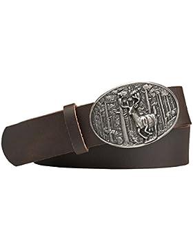 Jagd-Motiv Trachten-Leder-Gürtel mit Druckknopfriemen Rindsleder Farbe: dunkelbraun silber antik
