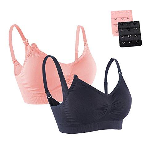 FeelinGirl Damen Nahtloser Schwangerschafts-BH Body Silk Seamless Yoga Bra XL Rosa und Schwarz (Still-bh Silk Seamless Body)
