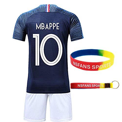 Ensembles de Sport Maillot de Football Garçon Manche Courte 2 étoiles Suit de Football (Bleu 10 Mbappe, T22 (Taille 120-130))