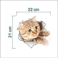 Macxy - Vinyl Wasserdicht Hund Katze 3D-Wand-Aufkleber-Loch-Ansicht Badezimmer WC Wohnzimmer Wohnkultur Aufkleber... preisvergleich bei billige-tabletten.eu