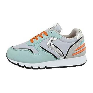 Ital-Design Damenschuhe Freizeitschuhe Sneakers Low Synthetik Grün Grau Gr. 40