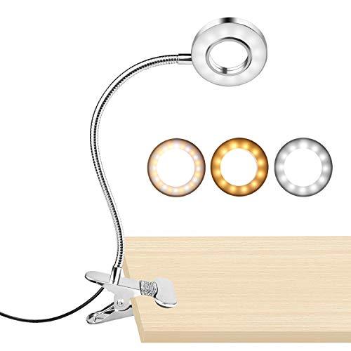 Wooputne Klemmleseleuchte mit 3 Beleuchtungsmodi, 10 Helligkeitsstufen, Klemmbuchleuchte für Schreibtisch, Kopfteil am Bett, Tische und Computer (Silber, 8W)