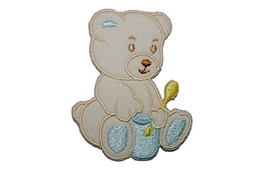 5,2 cm * 6,6 cm Bügelbild Aufnäher Applikation Junge Jungen (Topf Teddybär)